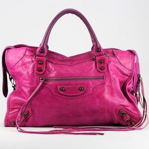 Balenciaga Magenta Pink Leather City Bag Medium